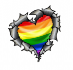 Ripped Torn Metal Heart Carbon Fibre with LGBT Gay Pride Flag Motif External Car Sticker 105x100mm